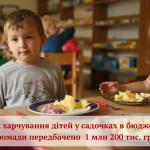 На харчування дітей у садочках в бюджеті громади передбачено 1 млн 200 тис. грн